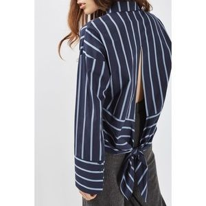 Topshop Striped Tie Back Shirt in Navy Blue size 6
